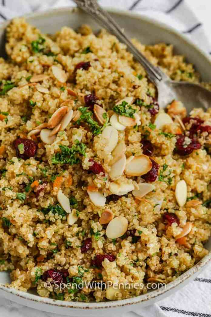 Bowl of Quinoa Pilaf with a spoon