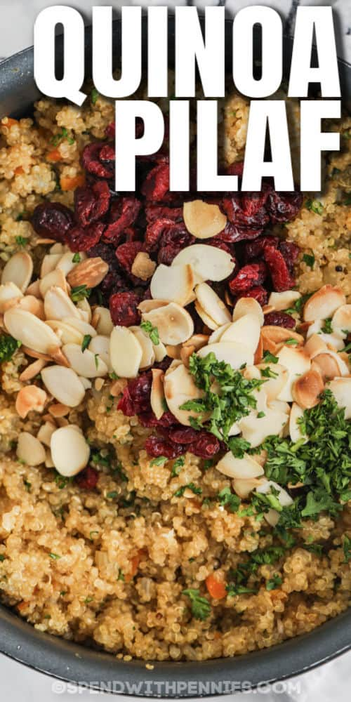 Quinoa Pilaf in the pot with a title