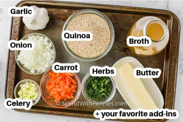 ingredients for pilaf labelled on a tray
