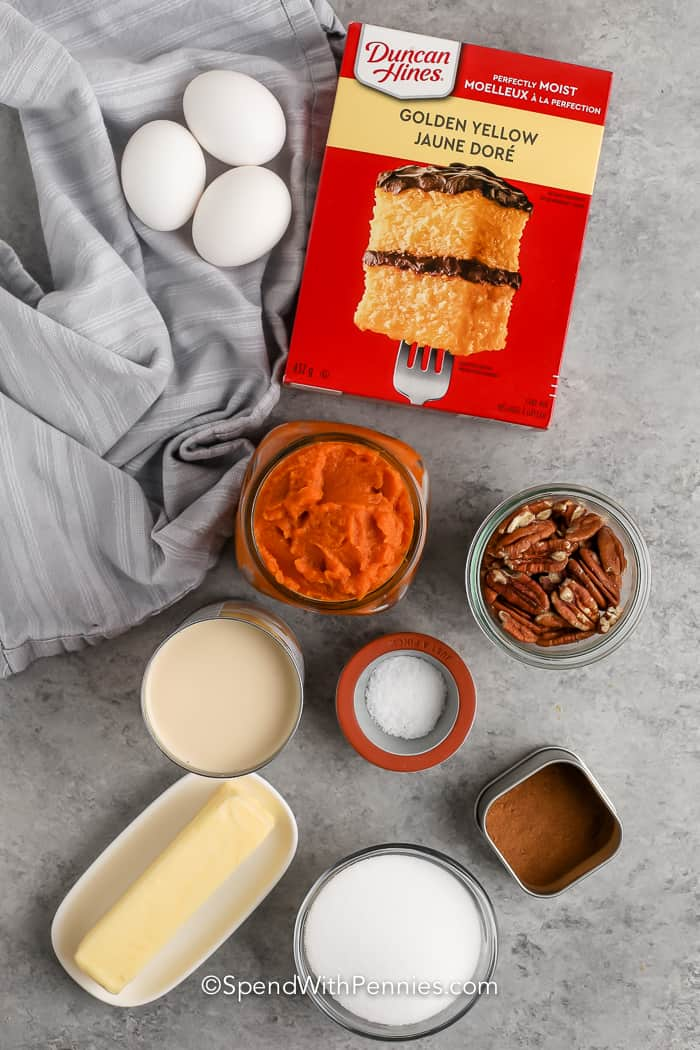 ingredients assembled to make Pumpkin Crunch Cake