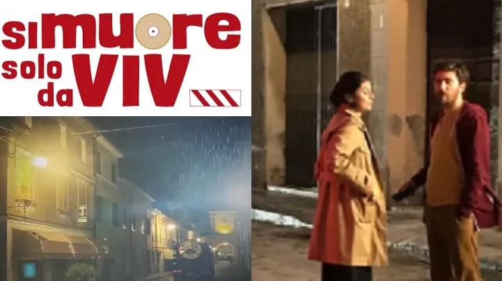 """Alessandro Roja e Alessandra Mastronardi sul set notturno a Reggiolo, continuano le riprese di """"Si Muore Solo da Vivi"""""""