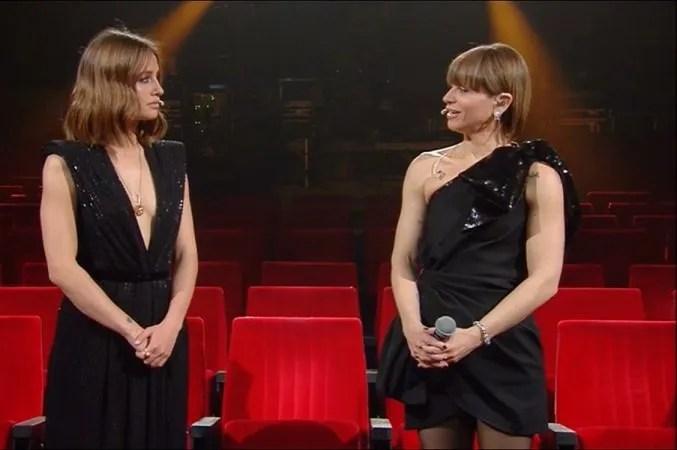 """Sanremo 2021 Matilde Gioli e Alessandra Amoroso """"Un applauso per lo spettacolo dal vivo"""" VIDEO"""