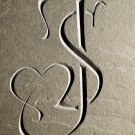 Wedding gift carved slate clock with initials