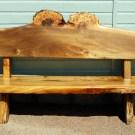 Carved garden patio bench in Scots Wych Burr Elm