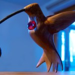 Ruby-throated Hummingbird wood carving