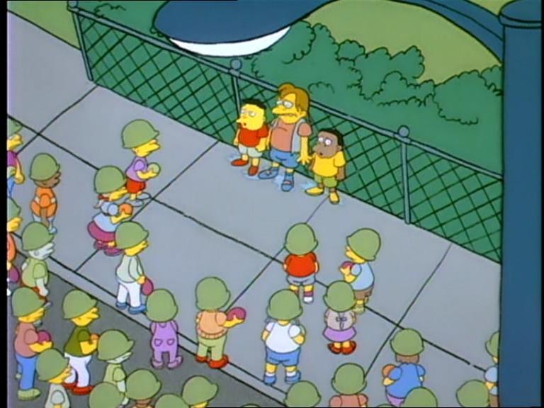 Guerra de globos de agua entre los niños de Springfield