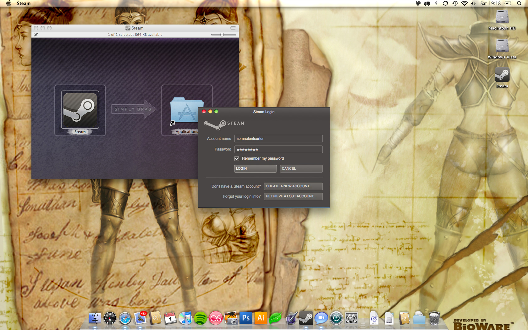 A Screenshot Of The Log In Screen For The Mac Os X Steam Client