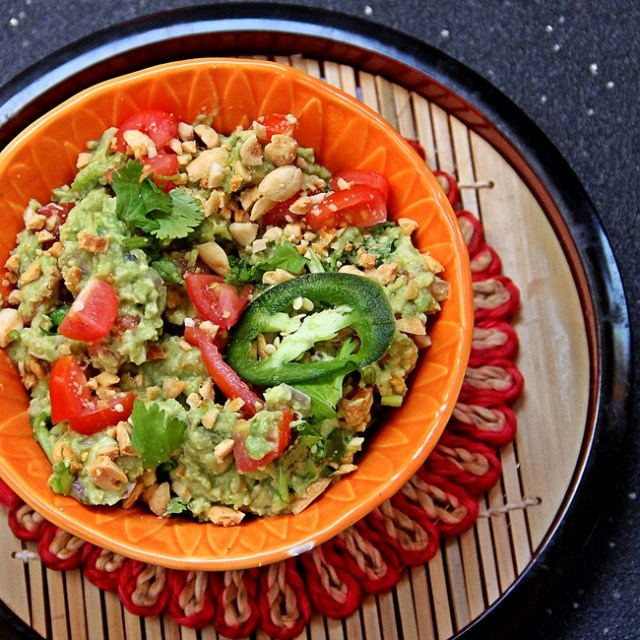Guacamole with toasted peanuts