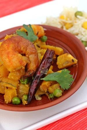 Kumro Chingri - Stir Fried Butternut Squash With Shrimp