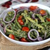 Green Beans with a pebbled sunflower seed pesto