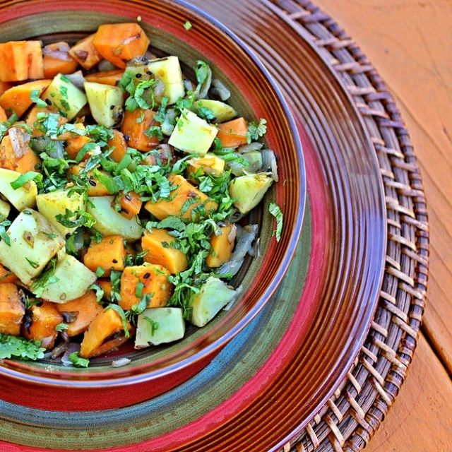 Sweet Potatoes with Shallots, Coriander and Garam Masala