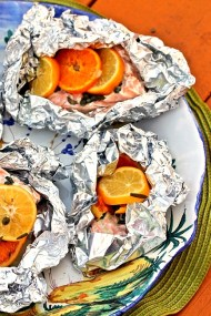 Poached Salmon with Citrus, Capers and Rosemary