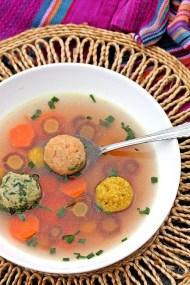 Tri_Colored Matzoh Ball Soup
