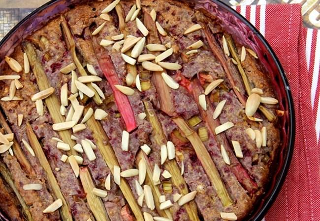 Almond, Rhubarb and Raspberry Cake