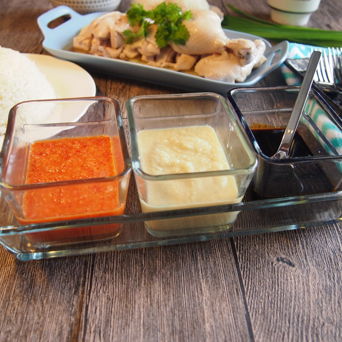Singapore Hainanese Chicken Rice Garlic Chilli Ginger Sauce Spice N Pans