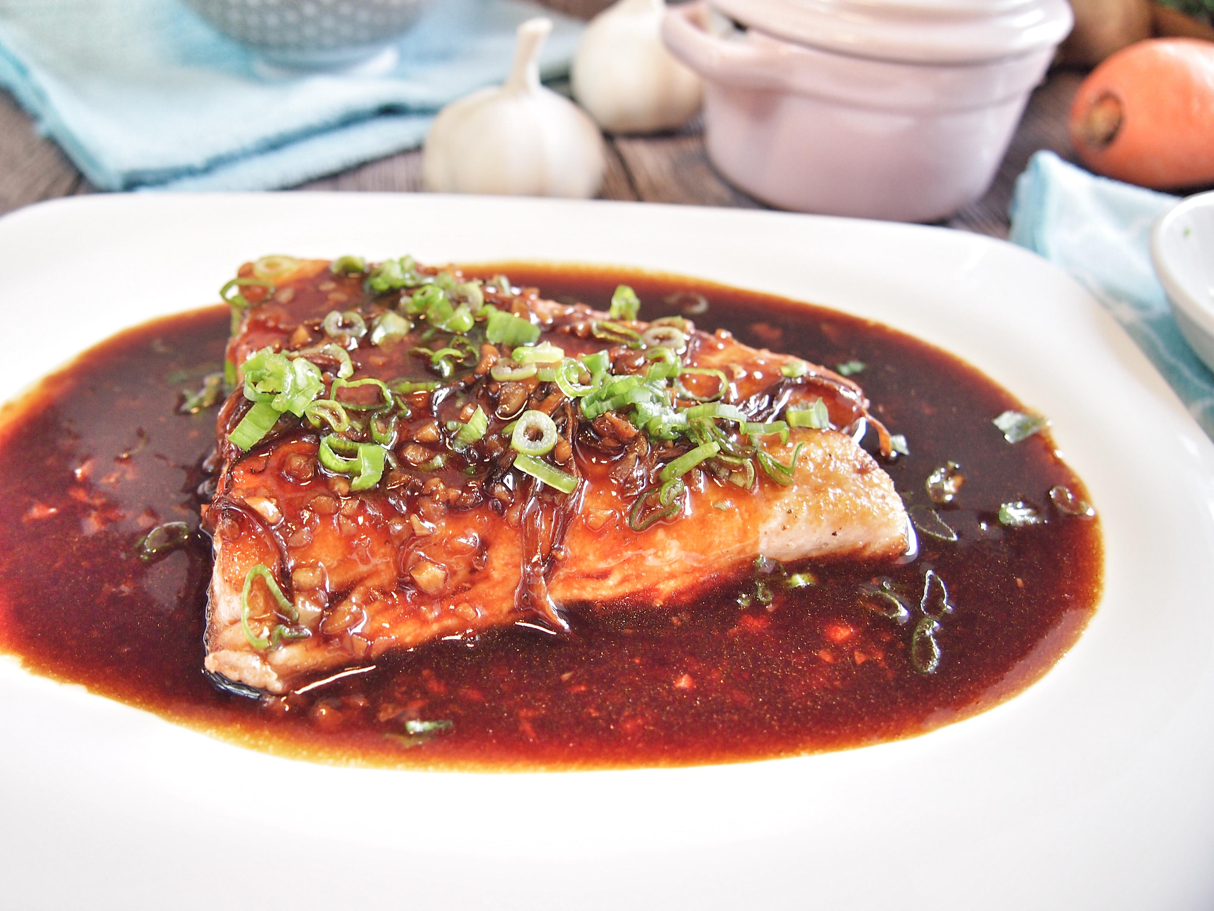 Oriental Style Salmon in Ginger & Garlic Sauce