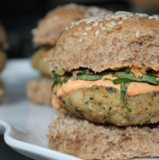 Quinoa White Bean Kale Sliders with Roasted Red Pepper Aioli