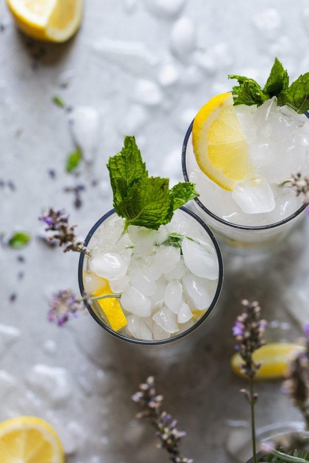 Overhead shot of two lavender mint vodka lemonades