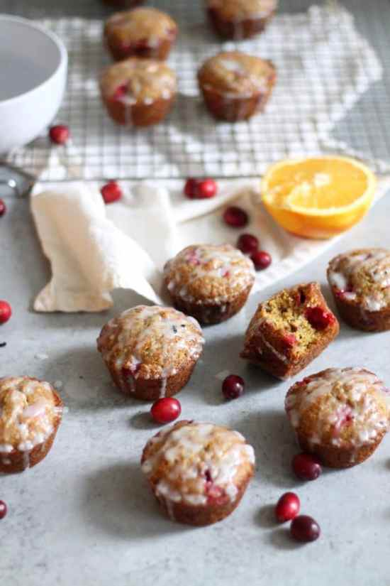 Whole Wheat Cranberry Orange Pistachio Muffins with Vanilla Bean Glaze