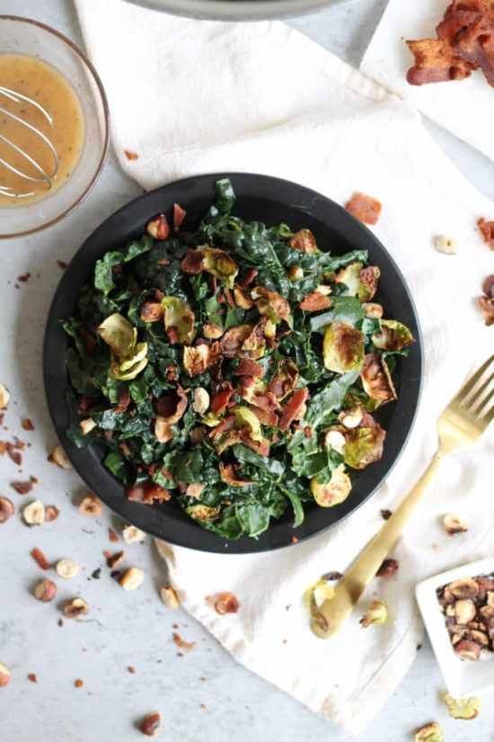 Crispy Brussels Kale Salad with Maple Bacon Dressing and Toasted Hazelnuts