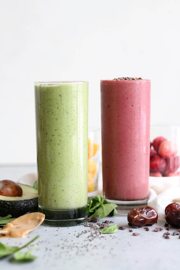 Peanut Butter Avocado Green Smoothie + Red Velvet Superfood Smoothie!