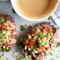 Thai Veggie Chickpea Stuffed Sweet Potatoes
