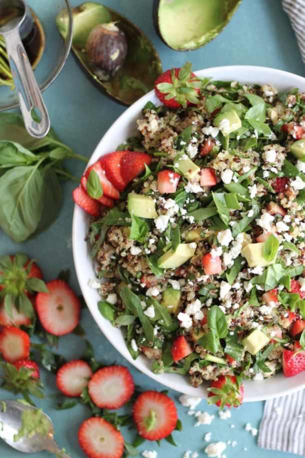 Strawberry Avocado Feta Spinach Quinoa Salad