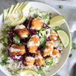 Crispy Fish Taco Cauliflower Rice Bowls