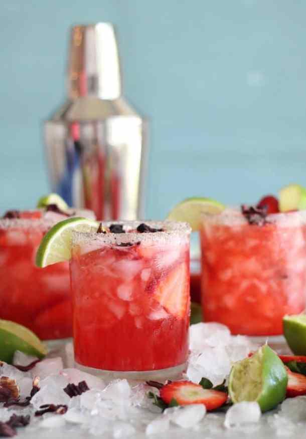 Strawberry Hibiscus Kombucha Margaritas with Salty Vanilla Bean Sugar