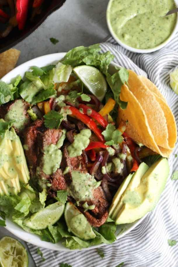 Steak Fajita Salads with Avocado Cilantro Dressing