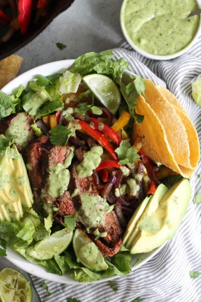 Steak Fajita Salads with Avocado Cilantro Dressing