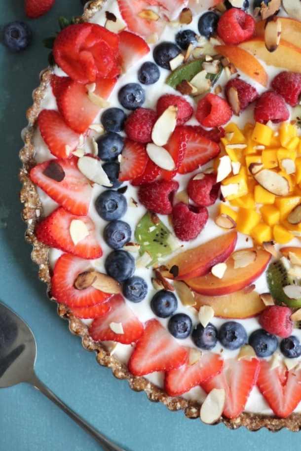 No Bake Vanilla Yogurt Fruit Tart with Cashew Date Crust