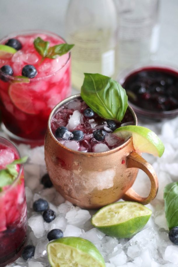 Blueberry Basil Moscow Mules
