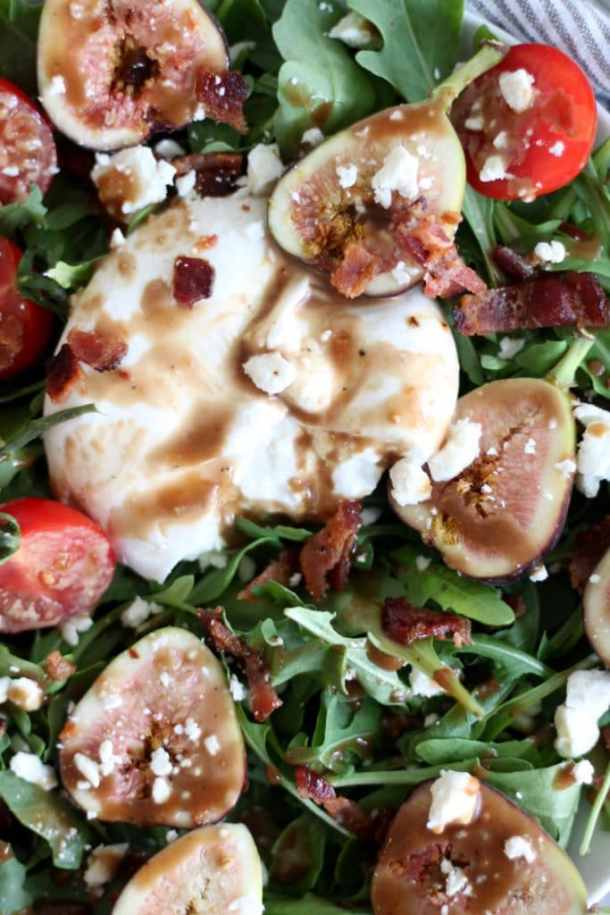 Fig Balsamic Arugula Salad with Bacon and Burrata