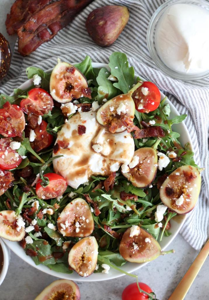 Fig Balsamic Arugula Salad with Bacon and Burrata