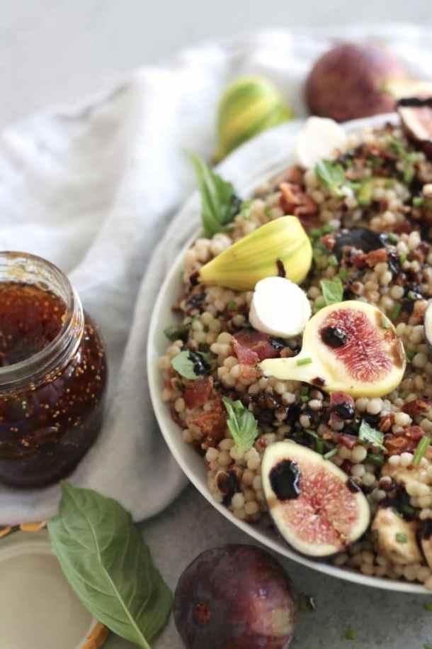 Fig Bacon Couscous Salad with Balsamic Vinaigrette