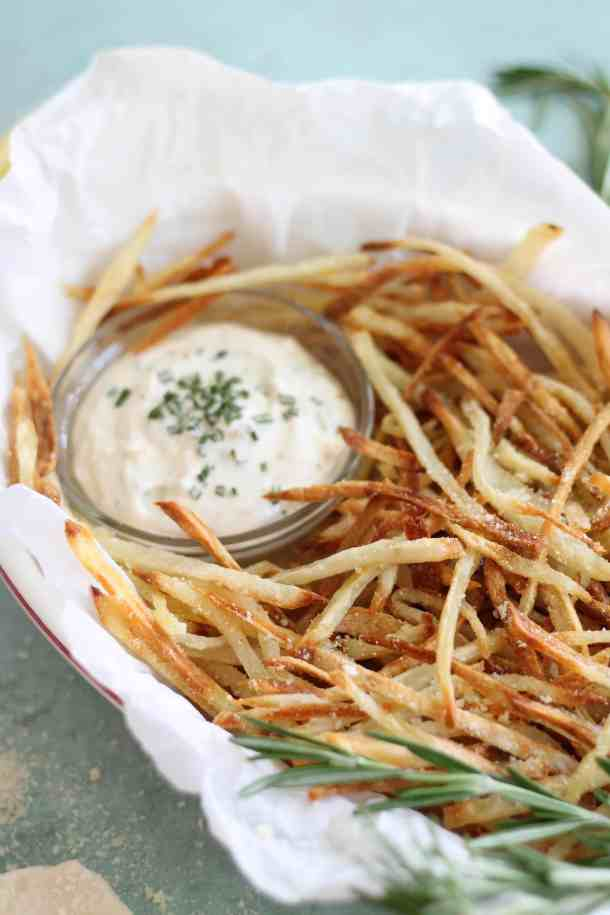 Parmesan Truffle Oven Fries with Rosemary Garlic Aioli