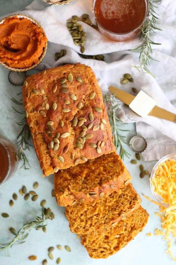 Rosemary Cheddar Pumpkin Beer Bread