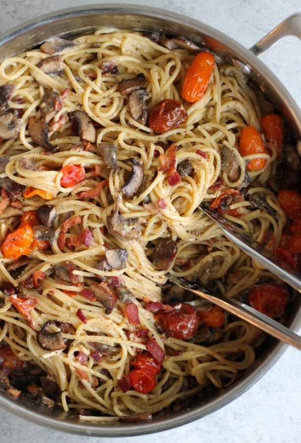 Mushroom and Roasted Tomato Spaghetti Carbonara