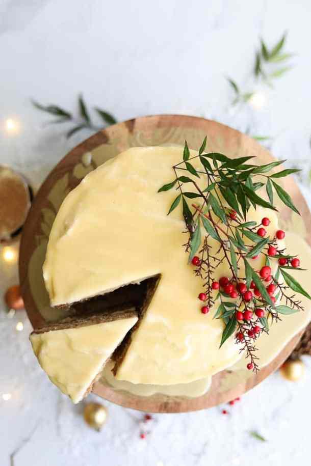 Eggnog Cake with White Chocolate Rum Ganache