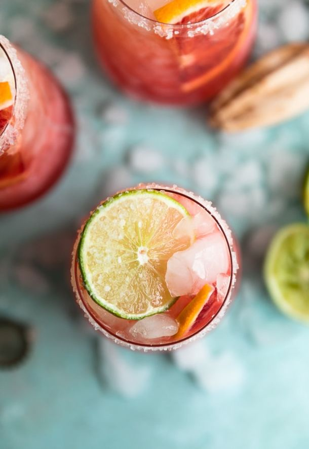 Overhead shot of a blood orange beergarita with a lime slice on top