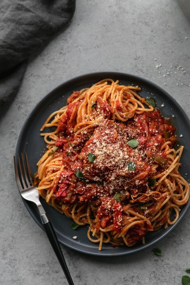 Overhead close up shot of a plate of chicken cacciatore over pasta garnished with grated parmesan cheese and fresh green oregano leaves