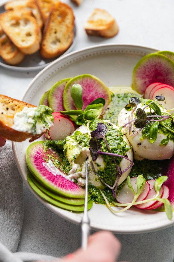 Close up shot of green goddess pesto burrata being spread on a crostini with watermelon radishes and micro greens garnishing the bowl