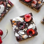 Overhead shot of Dark Chocolate Cherry Coconut Almond Oat Bars