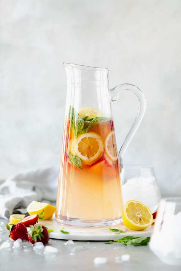 Shot of a strawberry lemonade basil fizz pitcher cocktail