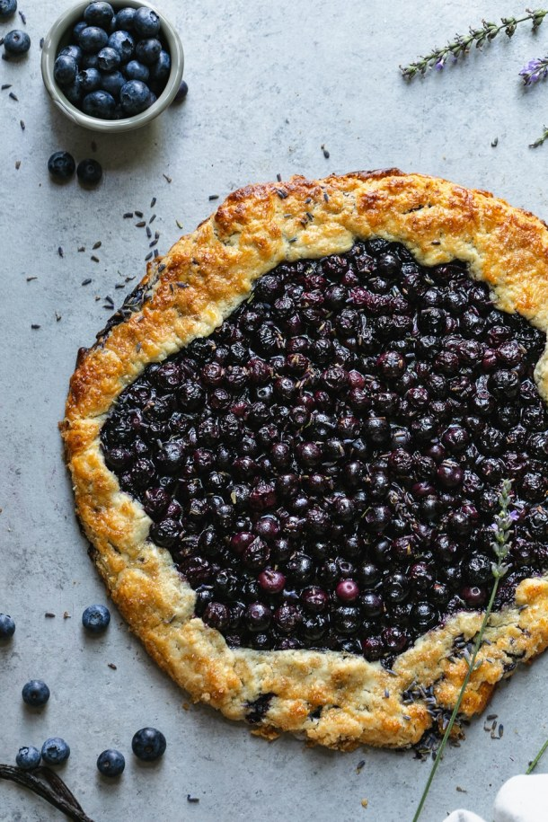 Overhead shot of a blueberry galette