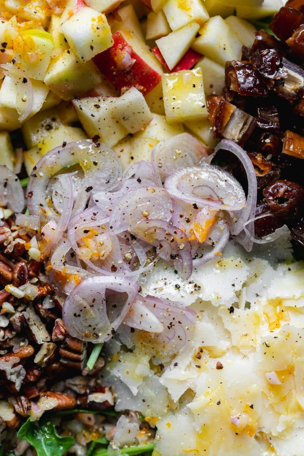 Super close up shot of apples, pecans, shallots, dates, shaved parmesan, and arugula