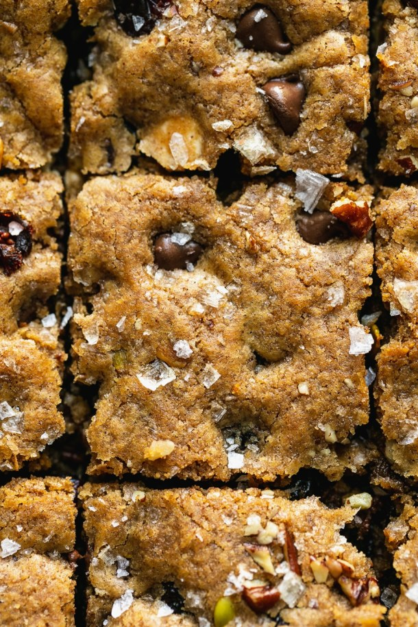 Very close up shot of a pan of blondies cut into squares with chocolate chips, cranberries, and flaky sea salt