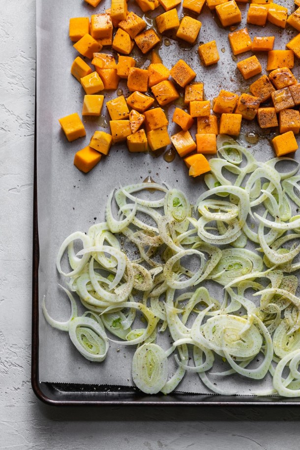 Overhead shot of butternut squash and fennel before roasting