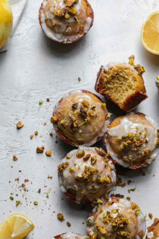 Overhead close up shot of lemon pistachio muffins